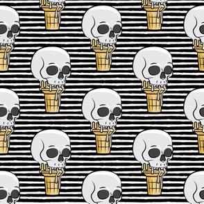 skull ice cream cones - black stripes - LAD19