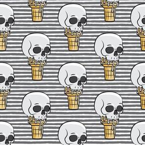 skull ice cream cones - grey stripes - LAD19