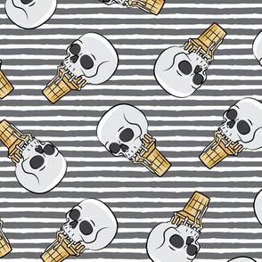 skull ice cream cones - toss on grey stripes - LAD19