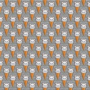 """(3/4"""" scale) cute cat icecream cones on black stripes C19BS"""