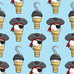 Pirate ice cream cones -  stacked on light blue  - LAD19