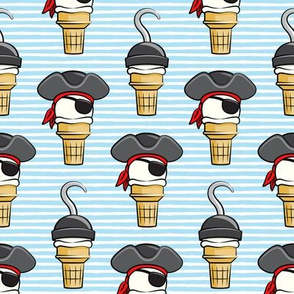 Pirate ice cream cones -  stacked on light blue stripes  - LAD19