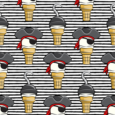 Pirate ice cream cones - stacked on black stripes - LAD19 fabric by littlearrowdesign on Spoonflower - custom fabric