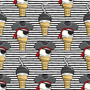 Pirate ice cream cones - stacked on black stripes - LAD19