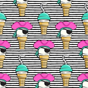 Pirate ice cream cones - pink stacked on black stripes - LAD19