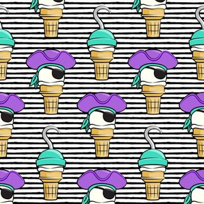 Pirate ice cream cones - purple stacked on black stripes - LAD19