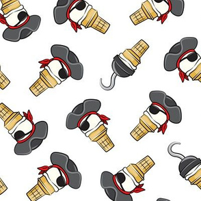 Pirate ice cream cones - toss on white  - LAD19