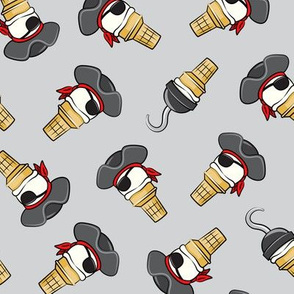 Pirate ice cream cones -toss on grey - LAD19