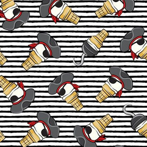 Pirate ice cream cones -toss on black stripes - LAD19
