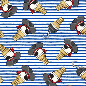 Pirate ice cream cones - toss on blue stripes - LAD19
