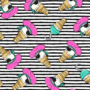 Pirate ice cream cones - pink toss on black stripes - LAD19