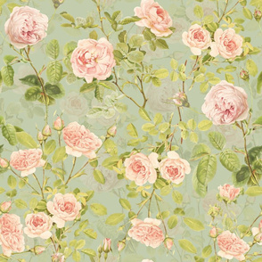 "21""  Pierre-Joseph Redouté Roses,Antique Victorian rose for nursery home decor or fashion on green"