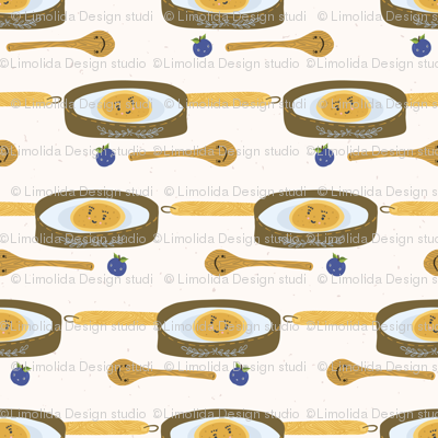 Cute vector pancake day breakfast illustration. Seamless repeating pattern.