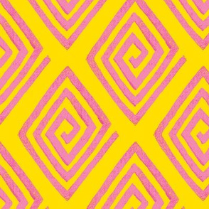 diamond decorum / Pink - Yellow