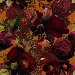 "18"" Pierre-Joseph Redouté Moody Florals by UtART - Mystic Night 12"