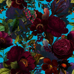 "18"" Pierre-Joseph Redouté Moody Florals by UtART - Mystic Night 11"