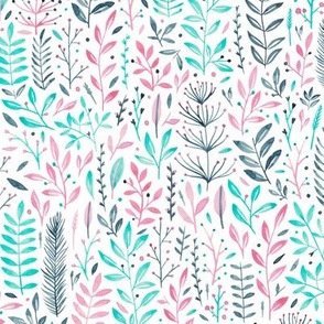 Ditsy florals in pink, navy and turquoise.