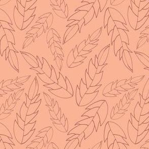 simple collection leaf rhubarb on peach