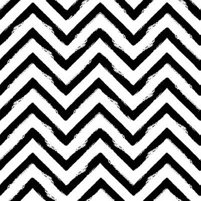 abstract grungy chevron stripes - medium scale black