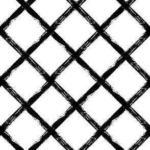 abstract grungy diamond stripes - medium scale black and white