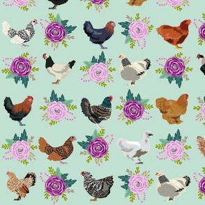 chickens florals fabric - purple floral fabric, farm fabric, chicken lady fabric, chickens fabric -  mint