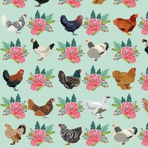 chickens florals fabric - pink floral fabric, farm fabric, chicken lady fabric, chickens fabric - mint
