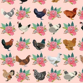 chickens florals fabric - pink floral fabric, farm fabric, chicken lady fabric, chickens fabric - pink