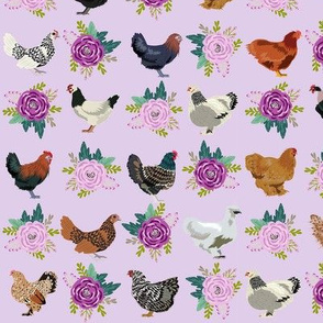 chickens florals fabric - purple floral fabric, farm fabric, chicken lady fabric, chickens fabric - lilac