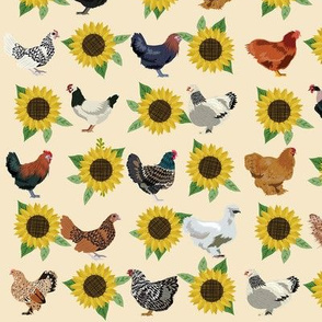 chickens florals fabric - sunflower floral fabric, farm fabric, chicken lady fabric, chickens fabric - cream