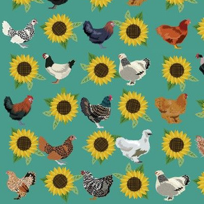 chickens florals fabric - sunflower floral fabric, farm fabric, chicken lady fabric, chickens fabric - teal