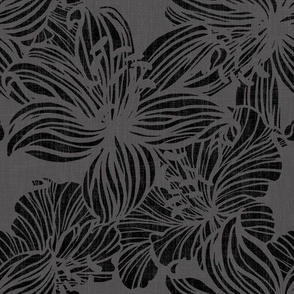 tropical floral line work in moody grays