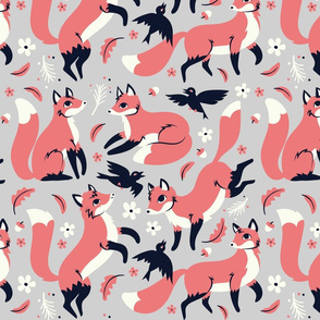 foxes and ravens in Gray