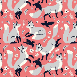Foxes and Ravens in Peach