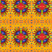 Yellow Orange geometric eye pattern-ed