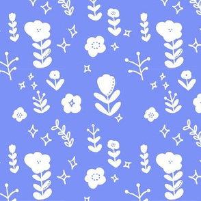 Scandinavian Shadow Flowers Blue Purple