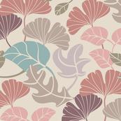 Quiet Autumn Falling Leaves Pink Blue Brown Beige
