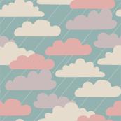 Quiet Autumn Storm Clouds Rain Blue Pink Purple White