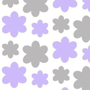 Floral Purple Lavender Gray Grey Flowers