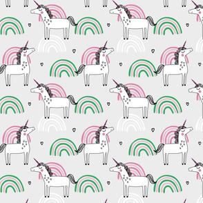 Unicorn rainbow girls pattern on green grey