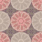 Exotic Indian Mandala Tiles Pink Brown Beige