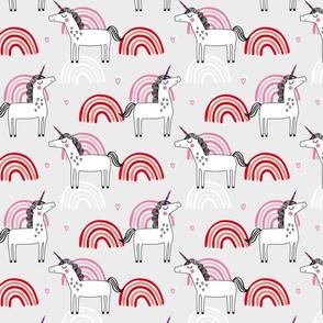 Unicorn rainbow girls pattern on grey