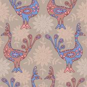 Exotic Peacocks Blue Pink Beige Brown