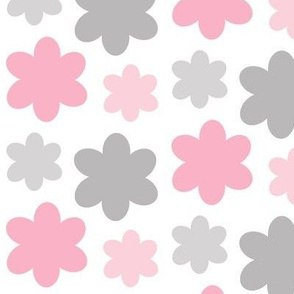 Floral Pink Gray Grey Flowers