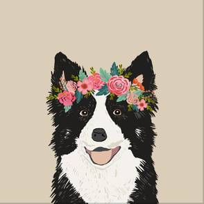 "18"" Border Collie Dog Pillow with cut lines - dog pillow panel, dog pillow, pillow cut and sew - floral"