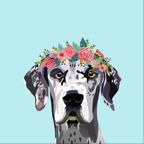"""18"""" Great Dane Dog Pillow with cut lines - dog pillow panel, dog pillow, pillow cut and sew - floral"""