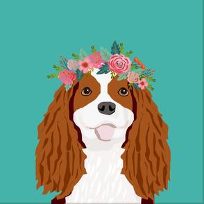 "18"" Cavalier King Charles Spaniel Blenheim Dog Pillow with cut lines - dog pillow panel, dog pillow, pillow cut and sew - floral"