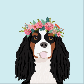 """18"""" Cavalier King Charles Spaniel Tri Dog Pillow with cut lines - dog pillow panel, dog pillow, pillow cut and sew - floral"""