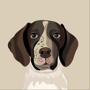 """18"""" German Shorthaired Pointer Dog Pillow with cut lines - dog pillow panel, dog pillow, pillow cut and sew -"""