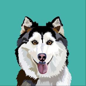 """18"""" Husky Dog Pillow with cut lines - dog pillow panel, dog pillow, pillow cut and sew -"""