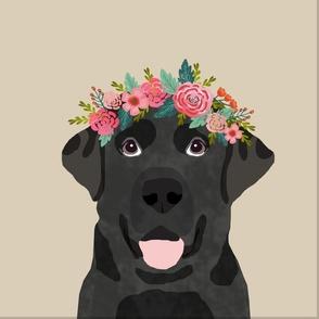 "18"" Black Labrador Pillow with cut lines - dog pillow panel, dog pillow, pillow cut and sew - floral"